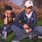Two teenagers in the park Cardiff