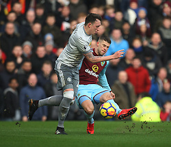 Phil Jones of Manchester United (L) and Johann Gudmundsson of Burnley in action - Mandatory by-line: Jack Phillips/JMP - 20/01/2018 - FOOTBALL - Turf Moor - Burnley, England - Burnley v Manchester United - English Premier League