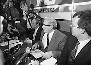 Garret Fitzgerald Stands Down As Fine Gael Leader.(R52)..1987..11.03.1987..03.11.1987..11th March 1987..After the loss at the recent general election Dr Garret Fitzgerald took the decision to resign as leader of the Fine Gael Party...At the Press Conference to announce his decision to resign as Fine Gael leader, Dr Fitzgerald is surrounded by the media throng.