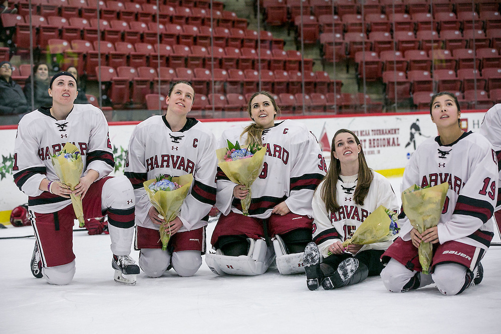 February 6, 2016, Cambridge, MA:<br /> A Senior Day ceremony is held following a women's hockey game between Harvard University and Yale University at Harvard University in Cambridge, Massachusetts Saturday, February 6, 2016. <br /> (Photo by Billie Weiss/Harvard University Athletics)