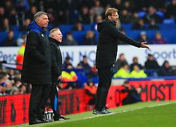 Liverpool manager Jurgen Klopp gestures ahead of Everton manager Sam Allardyce - Mandatory by-line: Matt McNulty/JMP - 07/04/2018 - FOOTBALL - Goodison Park - Liverpool, England - Everton v Liverpool - Premier League