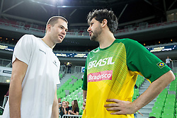 Uros Slokar of Slovenia talks to … of Brasil prior to the friendly basketball match between National Teams of Slovenia and Brasil at Day 2 of Telemach Tournament on August 22, 2014 in Arena Stozice, Ljubljana, Slovenia. Photo by Vid Ponikvar / Sportida