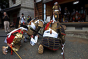 Samurai coming to present themselves to Samurai Fuku Taisho at his home during the Soma Nomaoi festival