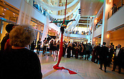 An aerial silk performer from Shore Circus gracefully maneuvers during the Frostiball Benefit for the Arts at the Overture Center, Saturday, January 31, 2015.