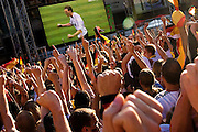 The crowd celebrates a German goal at the public viewing of the Semi-Final match against Argentina - Fulda, Germany
