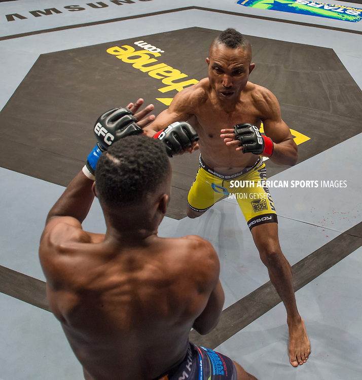 JOHANNESBURG, SOUTH AFRICA - MAY 13: (R-L) Guy Mongambi and TC Khusu in action during EFC 59 Fight Night at Carnival City on May 13, 2017 in Johannesburg, South Africa. (Photo by Anton Geyser/EFC Worldwide/Gallo Images)