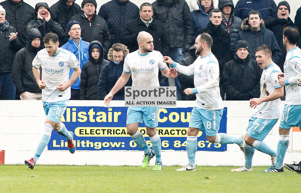Forfar's Iain Campbell is congratulated after puting his side 2-1 ahead from the spot<br /> During the William Hill Scottish Cup match at Prestonfield Linlithgow
