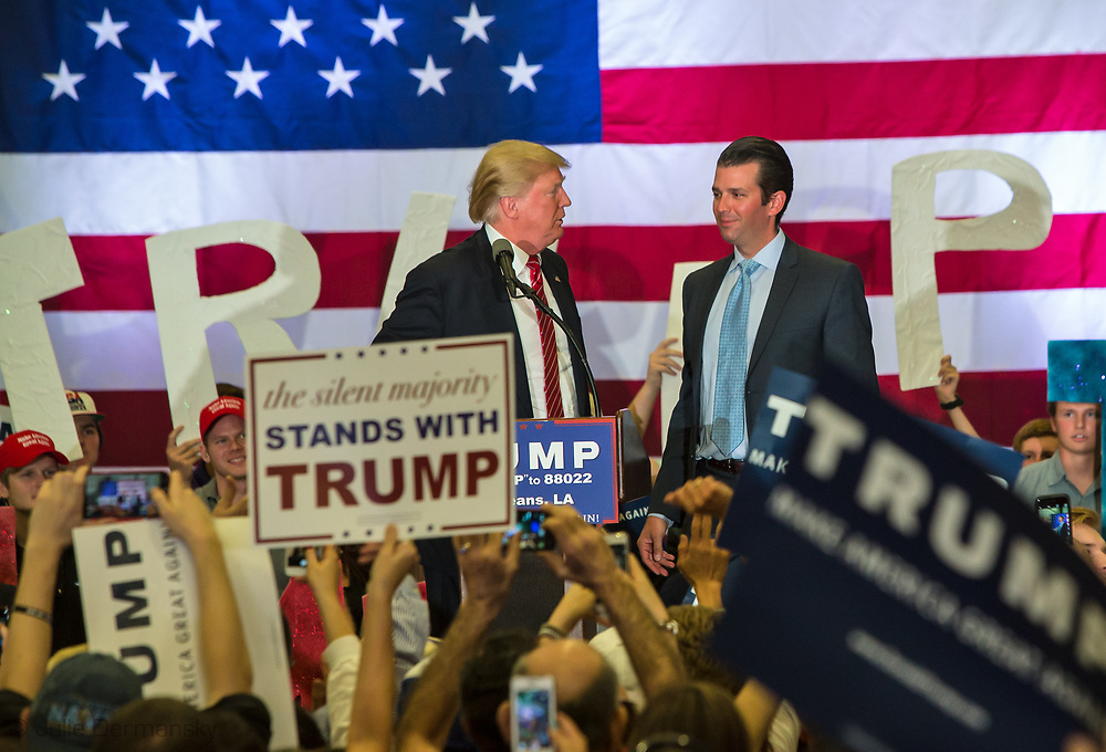 Republican presidential candidate Donald Trump introduces his son, Donald Trump Jr. at his campaign rally in New Orleans. <br /> The New Orleans rally on Friday, March 4, 2016 at Lakefront Airport took place a day before the primary vote.