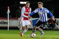 AMSTERDAM - Jong Ajax - FC Eindhoven , Voetbal , Jupiler league , Seizoen 2016/2017 , Sportpark de Toekomst , 24-02-2017 , Eindhoven speler Mart Lieder (r) in duel met Jong Ajax speler Damil Dankerlui (l)