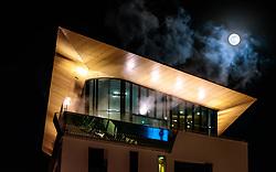 THEMENBILD - die TauernSpa Kaprun mit dem Supermond mit Mehrfachbelichtung fotografiert, aufgenommen am 31. Jänner 2018 in Kaprun, Österreich // the TauernSPA Kaprun with the Supermoon (multiple Exposure), Kaprun, Austria on 2018/01/31. EXPA Pictures © 2018, PhotoCredit: EXPA/ JFK