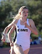 Erinn Beattie of UC Davis runs in the heptathlon 200m during the Bryan Clay Invitational in Azusa, Calif., Wednesday, April 17, 2019.