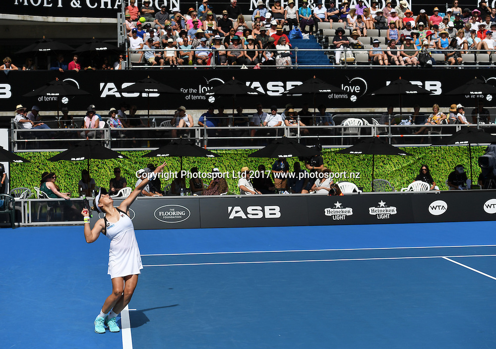 New Zealand's Marina Erakovic serves during her first round singles defeat at the ASB Classic. WTA Womens Tournament. ASB Tennis Centre, Auckland, New Zealand. Tuesday 3 January 2017. © Copyright photo: Andrew Cornaga / www.photosport.nz