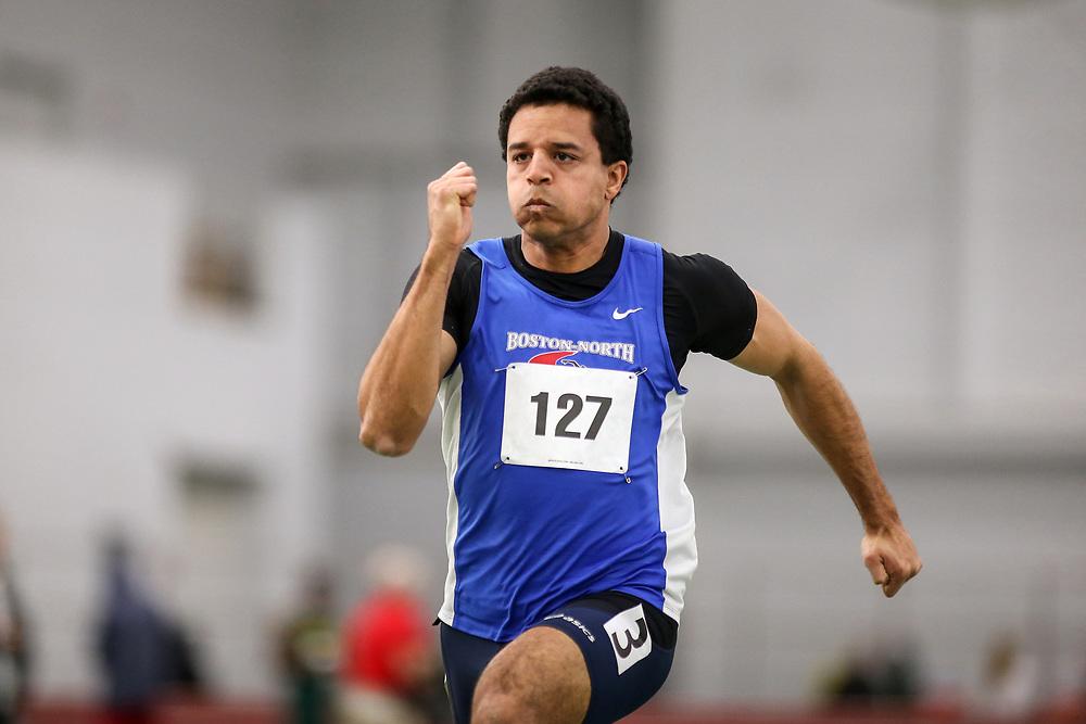 mens 60 meter prelim 2, Boston-North, Ethan Mignard<br /> Boston University Scarlet and White<br /> Indoor Track & Field, Bruce LeHane