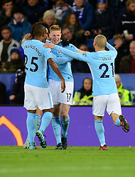 Kevin De Bruyne of Manchester City celebrates with David Silva of Manchester City - Mandatory by-line: Alex James/JMP - 18/11/2017 - FOOTBALL - King Power Stadium - Leicester, England - Leicester City v Manchester City - Premier League