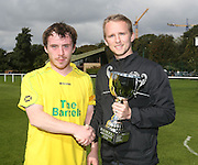 Hilltown Hotspur captain Ryan Harper is presented with the Dundee Saturday Morning Football League Adamson Cup by Simon Adamson after his side beat DC Athletic in the final at the University Grounds, Riverside<br /> <br />  - &copy; David Young - www.davidyoungphoto.co.uk - email: davidyoungphoto@gmail.com