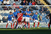Accrington Stanley Midfielder, Sean McConville (11) takes a shot from a free kick during the EFL Sky Bet League 1 match between Portsmouth and Accrington Stanley at Fratton Park, Portsmouth, England on 4 May 2019.