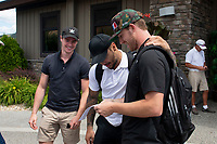 KELOWNA, CANADA - JULY 21: Joe Gatenby, Tyrell Goulbourne and Damon Severson check out the golf teams at the Kelowna Rockets Alumni golf tournament at Black Mountain Golf Club in Kelowna, British Columbia, Canada.  (Photo by Marissa Baecker/Shoot the Breeze)  *** Local Caption ***