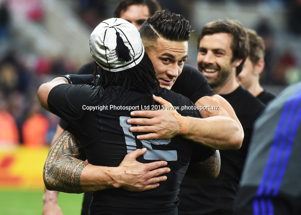 Ma'a Nonu hugs Sonny Bill Williams during the New Zealand All Blacks v Tonga Rugby World Cup 2015 match. St James' Park in Newcastle. UK. Friday 9 October 2015. Copyright Photo: Andrew Cornaga / www.Photosport.nz