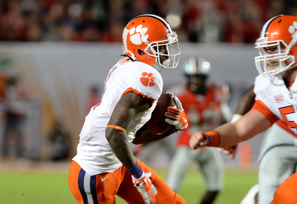 January 3, 2014: Martavis Bryant #1 of Clemson rushes upfield during the NCAA football game between the Clemson Tigers and the Ohio State Buckeyes at the 2014 Orange Bowl in Miami Gardens, Florida. The Tigers defeated the Buckeyes 40-35.