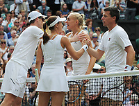 Tennis - 2017 Wimbledon Championships - Week Two, Thursday [Day Ten]<br /> <br /> Mixed Doubles, Semi Final match<br /> <br /> Jamie Murray (GBR) and Martina Hingis (SUI) vs. Ken Skupski (GBR) and Jocelyn Rae (GBR)<br /> <br /> Jamie Murray and Martina Hingis (left) after winning the match on  Centre Court <br /> <br /> COLORSPORT/ANDREW COWIE