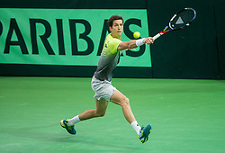 Aljaz Bedene of Slovenia during the Day 1 of Davis Cup 2018 Europe/Africa zone Group II between Slovenia and Poland, on February 3, 2018 in Arena Lukna, Maribor, Slovenia. Photo by Vid Ponikvar / Sportida