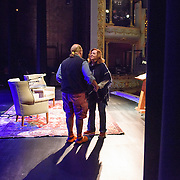 Executive director Patricia Lynch welcomes chef Mario Batali tothe stage during a Writers on a New England Stage show at The Music Hall in Portsmouth, NH