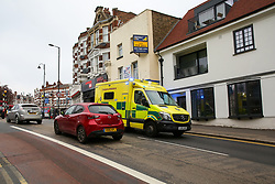 © Licensed to London News Pictures. 30/04/2019. London, UK. An ambulance on Muswell Hill Broadway in Haringey, north London where a 18 years old man was found suffering from knife wounds shortly after 9.20pm on Monday 29 April 2019. The victim was treated at the scene before being rushed to hospital. Photo credit: Dinendra Haria/LNP