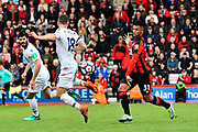 Lys Mousset (31) of AFC Bournemouth presses James McArthur (18) of Crystal Palace during the Premier League match between Bournemouth and Crystal Palace at the Vitality Stadium, Bournemouth, England on 7 April 2018. Picture by Graham Hunt.