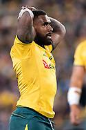 SYDNEY, NSW - AUGUST 18: Australian player Marika Koroibete (11) with his hands on his head at the Bledisloe Cup rugby test match between Australia and New Zealand at ANZ Stadium in Sydney on August 18, 2018. (Photo by Speed Media/Icon Sportswire)