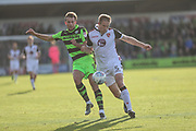 Forest Green Rovers Christian Doidge(9) and Morecambe's Steven Old(5) challenge for the ball during the EFL Sky Bet League 2 match between Forest Green Rovers and Morecambe at the New Lawn, Forest Green, United Kingdom on 28 October 2017. Photo by Shane Healey.