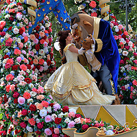 Beauty and the Beast Dancing on Parade at Magic Kingdom in Orlando, Florida<br />