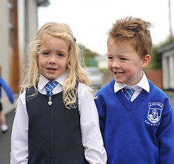 Twins Abby and Ben Foy on their first day as junior infants at Knockrooskey NS.<br />Pic Conor McKeown