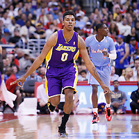 06 April 2014: Los Angeles Lakers forward Nick Young (0) reacts after making a three-point shot during the Los Angeles Clippers 120-97 victory over the Los Angeles Lakers at the Staples Center, Los Angeles, California, USA.