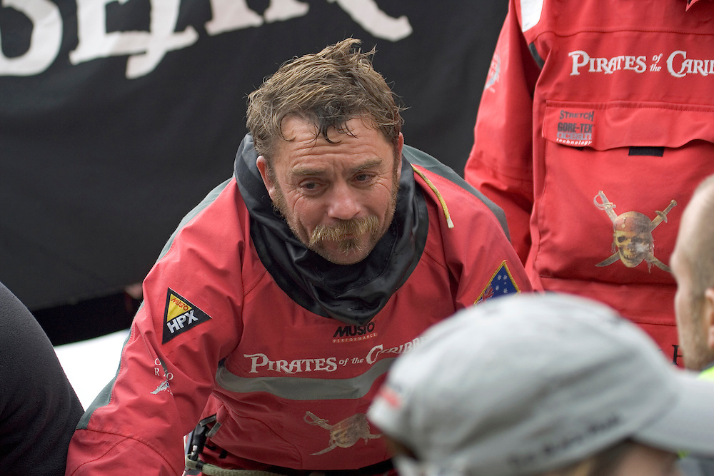 Justin Clougher, bowman for Pirates of the Caribbean, on the dock in Portsmouth after finishing Leg 7 in 3rd place, Volvo Ocean Race 2005-6