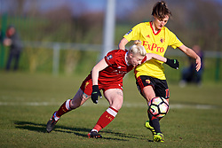 LIVERPOOL, ENGLAND - Sunday, February 4, 2018: Liverpool's Beth England and Watford's Simona Petkova during the Women's FA Cup 4th Round match between Liverpool FC Ladies and Watford FC Ladies at Walton Hall Park. (Pic by David Rawcliffe/Propaganda)