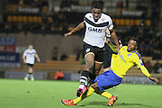 Maidenhead United defender Rene Steer tackles Port Vale forward Uche Ikpeazu during the The FA Cup match between Port Vale and Maidenhead United at Vale Park, Burslem, England on 8 November 2015. Photo by Jemma Phillips.