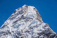 The summit of Ama Dablam, showing the ice serac, part of which collapsed in the fall of 2014.