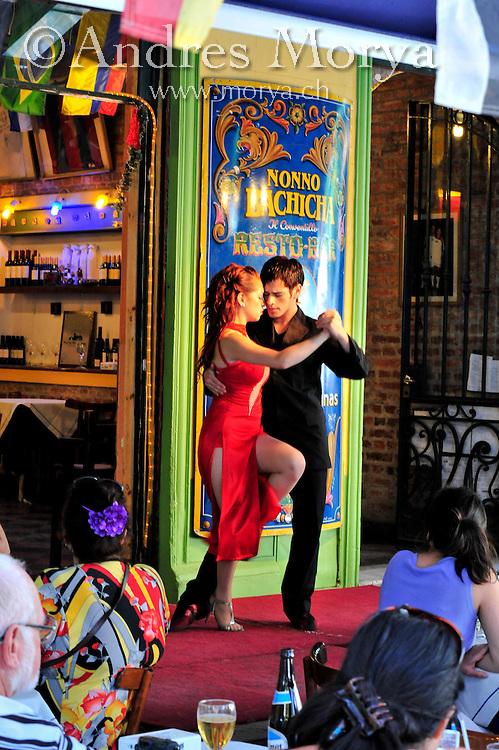 Tango dancer at Caminito , La Boca , Buenos Aires , Argentina Image by Andres Morya