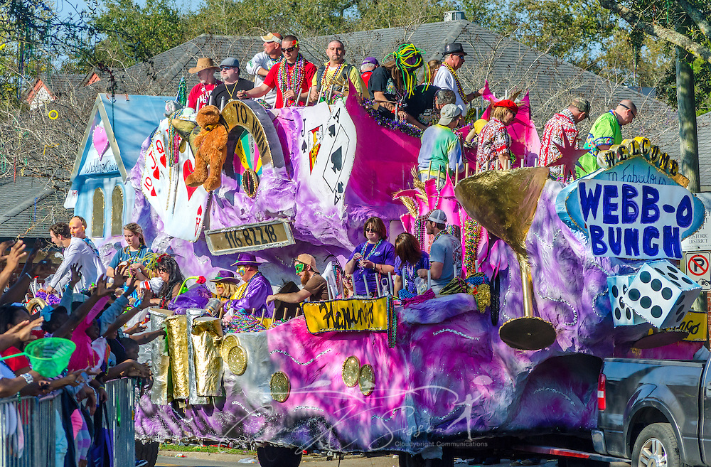 A parade float travels down Washington Street in downtown Mobile, Ala., during the Joe Cain Procession at Mardi Gras, March 2, 2014. French settlers held the first Mardi Gras in 1703, making Mobile's celebration the oldest Mardi Gras in the United States. (Photo by Carmen K. Sisson/Cloudybright)