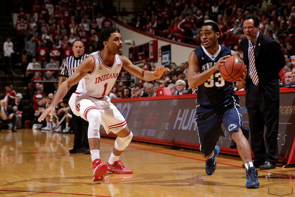 Penn State guard Shep Garner (33) as Penn State played Indiana in an NCCA college basketball game in Bloomington, Ind., Tuesday, Jan. 13, 2015. (AJ Mast)