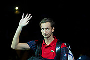 Daniil Medvedev of Russia waves to the crowd during the Nitto ATP Finals at the O2 Arena, London, United Kingdom on 15 November 2019.