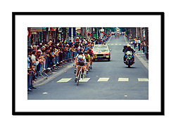 Stage 20, Tour de France 1982<br /> <br /> These six riders, led by Hennie Kuiper here, stayed away to finish just ahead of the bunch. Daniel Willems took victory in Aulnay-sous-Bois ahead of Sean Kelly, who is in green. Kuiper finished sixth.
