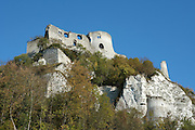 LES ANDELEYS, FRANCE - OCTOBER 10: View from below of the cliff top outer wall of the keep and great hall of the Chateau Gaillard, on October 10, 2008 in Les Andelys, Normandy, France. The chateau was built by Richard the Lionheart in 1196, came under French control in 1204 following a siege in 1203. It was later destroyed by Henry IV in 1603 and classified as Monuments Historiques in 1852. (Photo by Manuel Cohen)