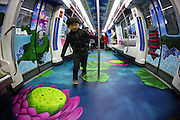 NINGBO, CHINA - DECEMBER 18: (CHINA OUT) <br /> <br /> A inner view of a 3D special travelling train is seen on December 18, 2014 in Ningbo, Zhejiang province of China. Ningbo Rail Transit launched a 3D special travelling train which were divided into four themes.<br /> ©Exclusivepix Media
