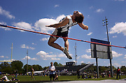Jason Smith (OK) a senior at Atherton High School attempts a high jump of 6 foot 3 inches in the finals of the G.A.C. league track meet held at E.A. Johnson High School in Mt Morris on Wednesday afternoon. Smith came in 1st in the high jump.  Twelve local high schools competed in the track meet.<br /> <br /> ASSIGNMENT INFO:  Need action of the Genesee Area Conference Red and Blue Division track meets at Mt. Morris High School. (Date shot: 5/25/2005) (The Flint Journal / Tom Turner)