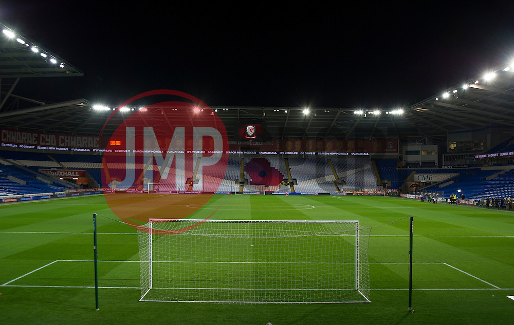 Poppy displayed  on one of the stands inside the Cardiff city stadium.  - Mandatory by-line: Alex James/JMP - 12/11/2016 - FOOTBALL - Cardiff City Stadium - Cardiff, United Kingdom - Wales v Serbia - FIFA European World Cup Qualifiers