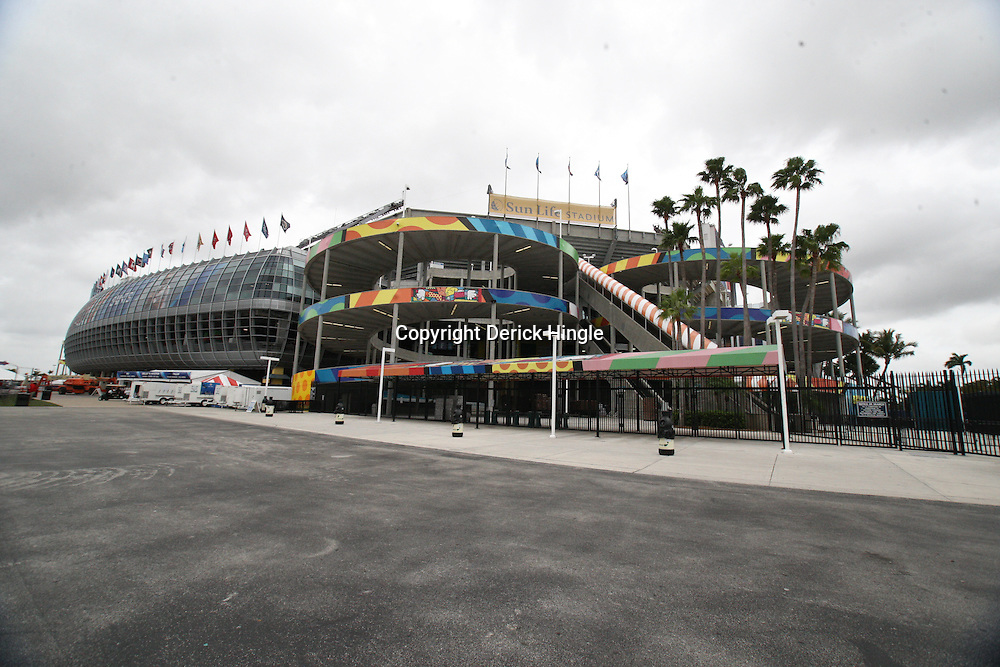 Feb 05, 2010;  Miami, FL, USA; General view of Sun Life Stadium the venue for Super Bowl XLIV between the New Orleans Saints and Indianapolis Colts. Mandatory Credit: Derick E. Hingle