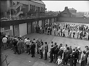 Croke Park Ticket Queues.1983.28.08.1983.08.28.1983.28 August 1983..Image taken as thousands of Dubliners queue to capture vital All Ireland Replay Tickets. The replay Between Dublin and Cork was to be held in Cork. Here brisk business is done at the ticket windows...Note: Dublin beat Cork in a very exciting encounter and the went on to beat Galway 1.10 to 1.08 in the final at Croke Park.
