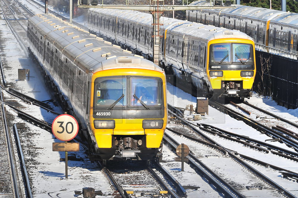© Licensed to London News Pictures.28/02/2018<br /> Orpington, UK.<br /> Trains Arriving from London.<br /> Train leaving for London in a haze of snow.<br /> A hand full of trains leaving Orpington Train Station in Kent for London as the snow causes travel chaos on the rails.<br /> More heavy snow overnight as the winter weather continues in Orpington, Kent.<br /> Photo credit: Grant Falvey/LNP