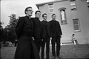 Christian Brothers .1972..11.08.1972..08.11.1972..11th August 1972..At St Marys,Christian Brothers College,Bray, the Christian Brothers prepare for their final profession before they move to the different provincial houses throughout the country...Pictured on the lawn of St Marys' Christian Brothers College,Bray Wicklow were Bro Seamus Hurley, clonmes, Tipperary, Bro J D Cregan,Cahir,Tipperary, Bro John Dillon,Limerick and Bro M F Kelly,Ennis,Clare.